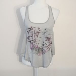 FREE PEOPLE Gray Tropical Strappy Sheer Tank Top